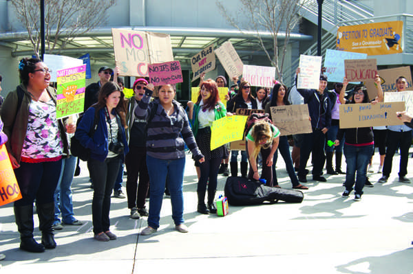 A walkout rally and protest on March 1 brought students, teachers and administrators out of their classrooms at San Diego Mesa College.              Photo by Lauren J. Mapp/Editor-in-Chief