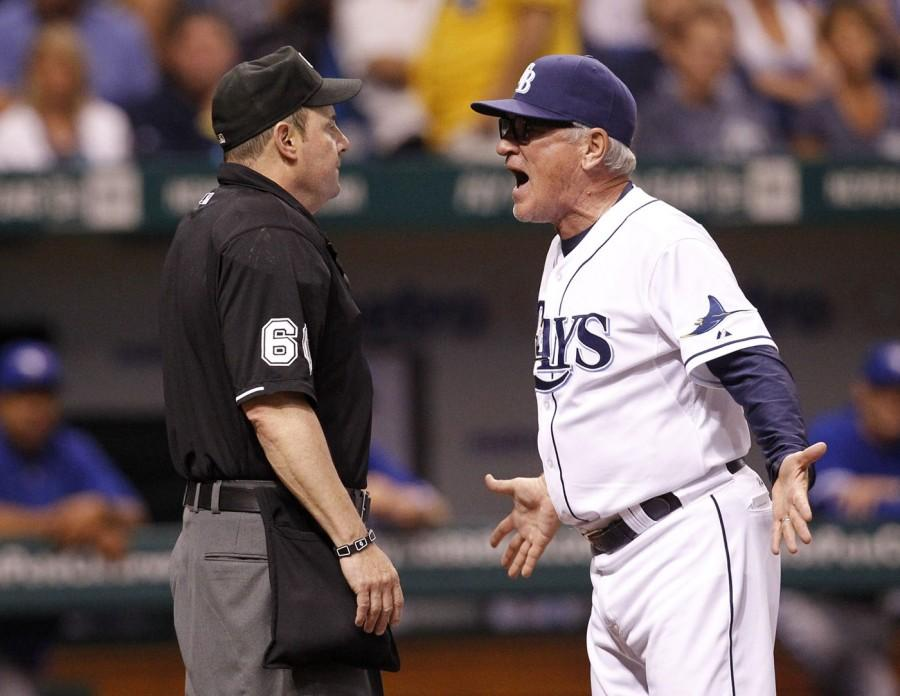 Home plate umpire Marty Foster ejects Tampa Bay Rays' Joe Maddon for arguing a call at the plate in the second inning of a MLB game against the Toronto Blue Jays at Tropicana Field in St. Petersburg, Florida, Tuesday, May 7, 2013. (James Borchuck/Tampa Bay Times/MCT)
