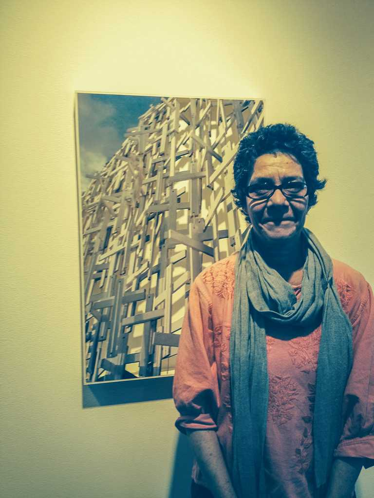 Carmela Castrejano during the reception at Mesa College Art Gallery