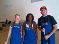 Natashja Kelly, Lonnie Lucas and Edward J. McCoven while volunteering for Our Daily Bread program
