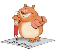 ILLUSTRATION: Hamster doing math