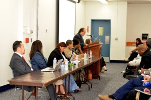 Board of Diversity Panelists. From left to right:  Alexandro José Gradilla, Beatriz Tapia, Valerie Cuevas, Starla Lewis, and Assembly Member Shirley Weber being introduced. Photo Courtesy of Mesa Communications Office.