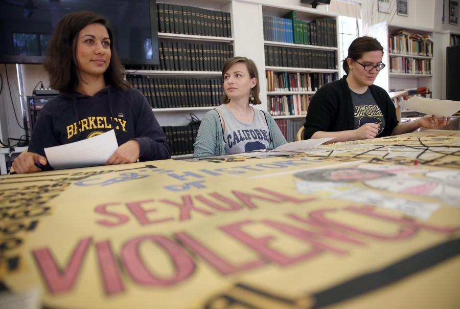 From left, University of California, Berkeley student Shannon Thomas, 21, former student Nicoletta Commins, 22, and student Aryle Butler, 20, prepare to speak during a press conference at the Graduate School of Journalism in Berkeley, Calif., on Wednesday, Feb. 26, 2014. Thirty-one female students have filed a federal complaint against the university, claiming Cal violated federal anti-discrimination laws by failing to protect them against sexual harassment and assault. (Jane Tyska/Bay Area News Group/MCT)