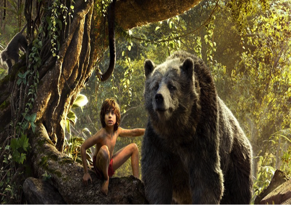"Mowgli and Baloo in Disney's new ""The Jungle Book"""