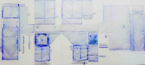 The apartment was recreated by laying sheets of paper which were darked by coloring the edges darker with blue.