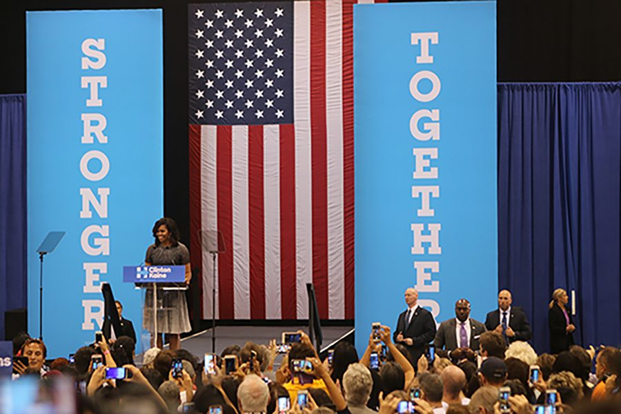 First lady Michelle Obama speaks at a campaign rally for Democratic presidential candidate Hillary Clinton at Phoenix Convention Center in Phoenix on Thursday, Oct. 20, 2016. (Kristiana Faddoul/Cronkite News/TNS)