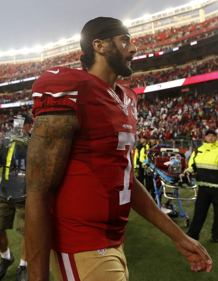 San Francisco 49ers starting quarterback Colin Kaepernick (7) leaves the field after the San Francisco 49ers 30-17 loss to the New England Patriots on Sunday, Nov. 20, 2016 at Levi's Stadium in Santa Clara, Calif. (Nhat V. Meyer/Bay Area News Group/TNS)
