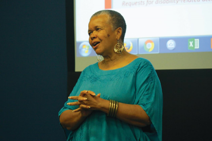Professor+Emerita+Starla+Lewis+addressing+the+audience.+