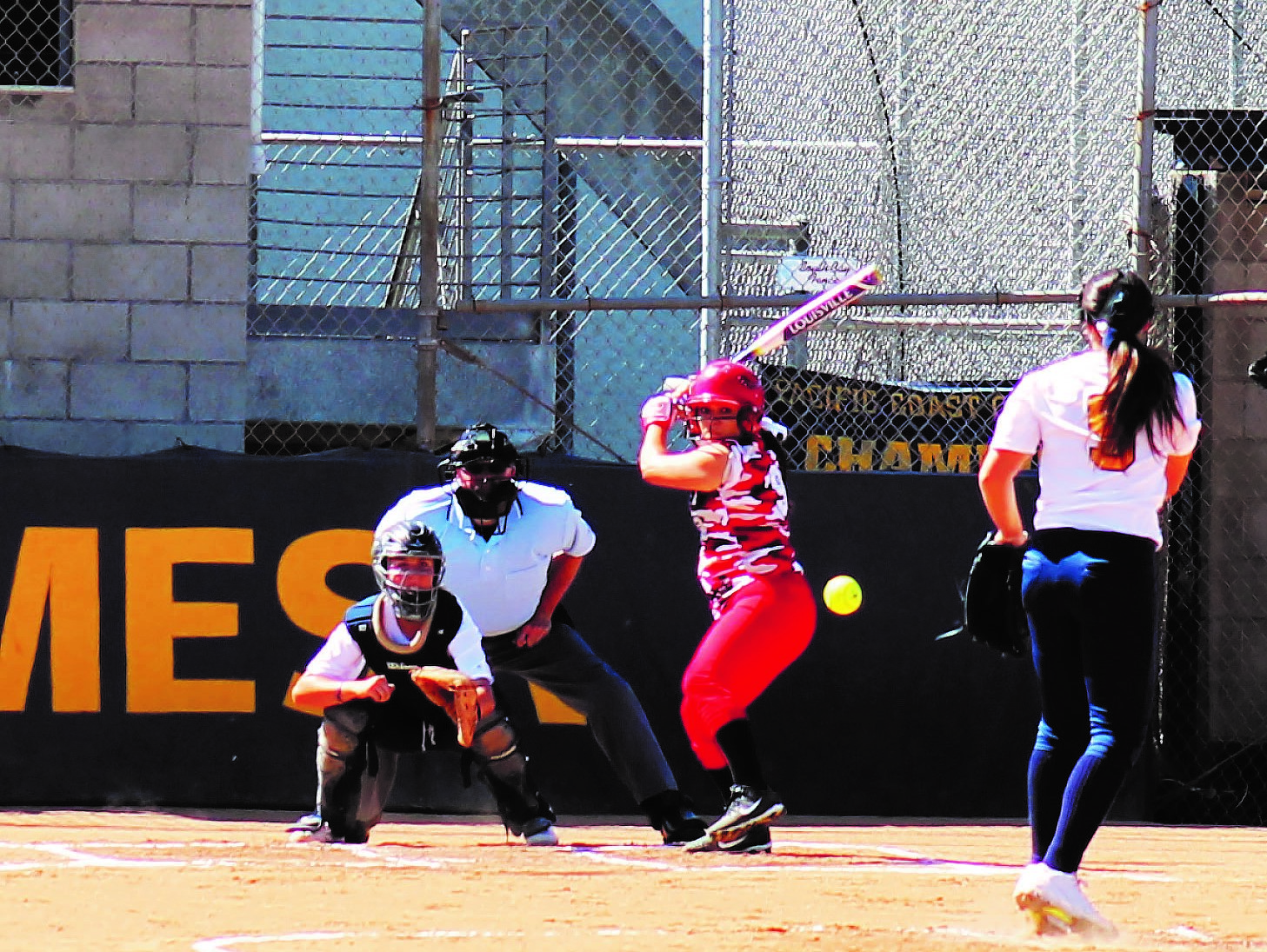 Sarah Crawford (5) pitching vs College of the Desert on 4/5 at Mesa college.