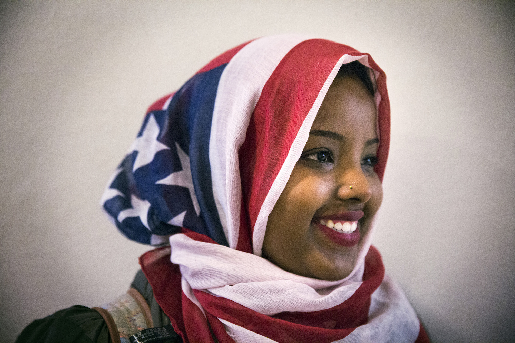 Barwaaqo Dirir, 21, decided to wear an American flag hijab for the first time while attending a talk by Jaylani Hussein on Islamophobia.