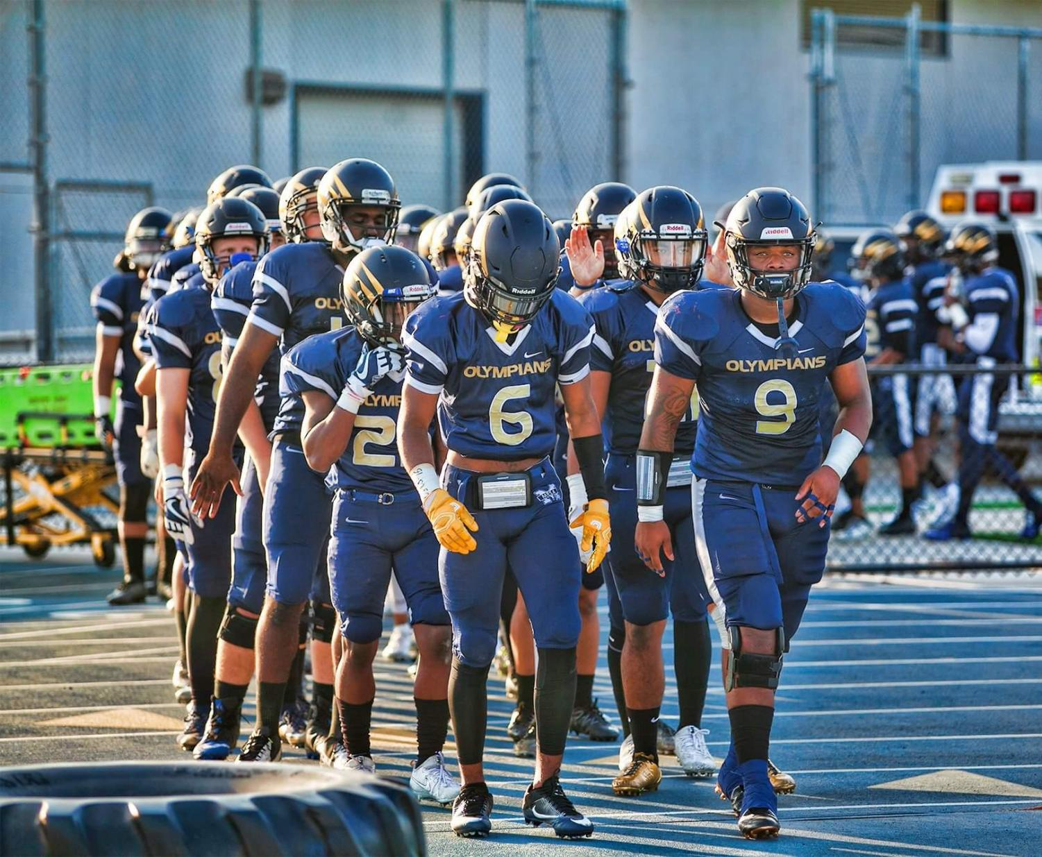 Our Olympian Football Team heading into battle this past Saturday. Photo Credit: Harmony Ayala-Ruiz