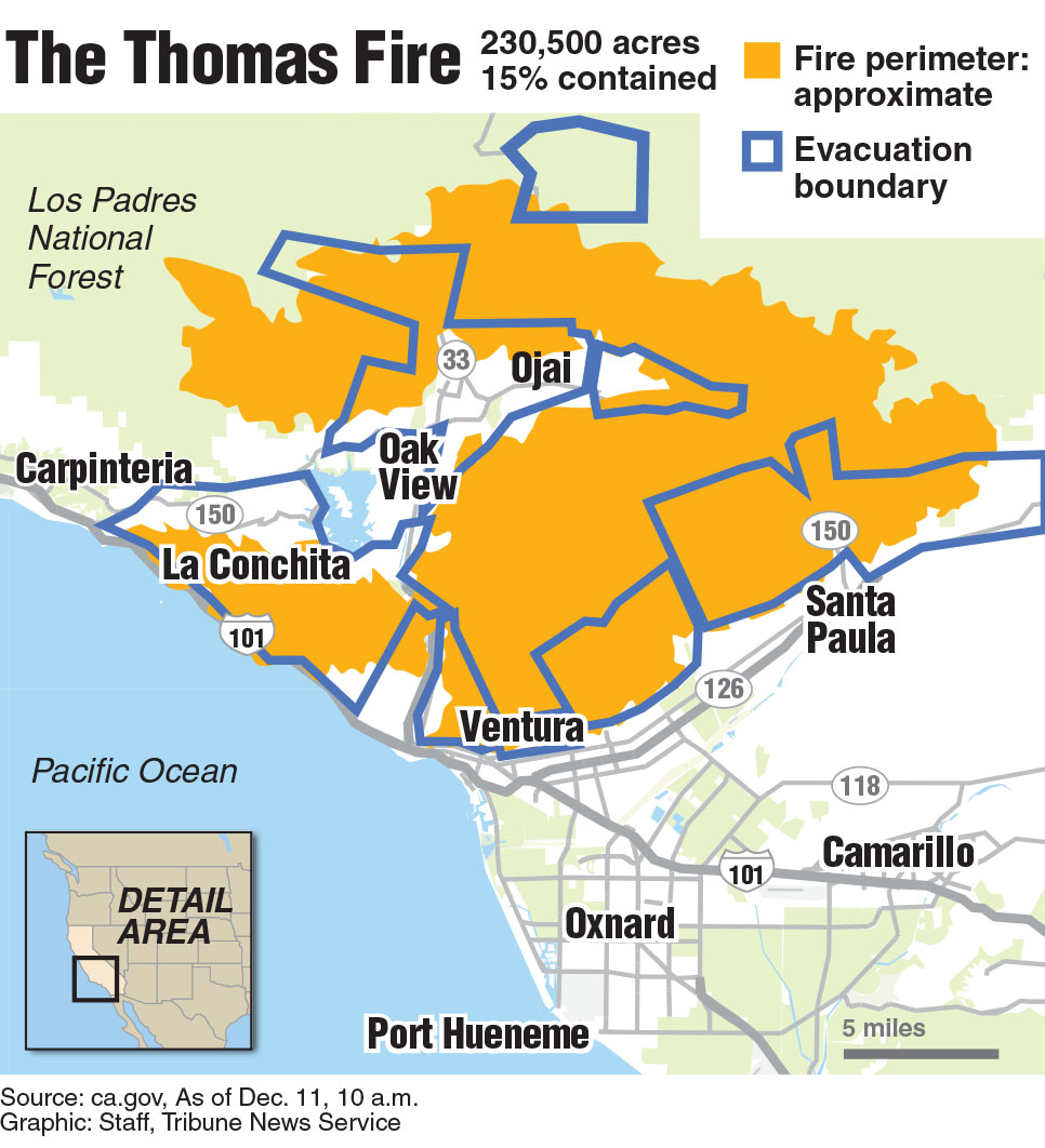 Locator map of the Thomas Fire boundary in Ventura, CA.