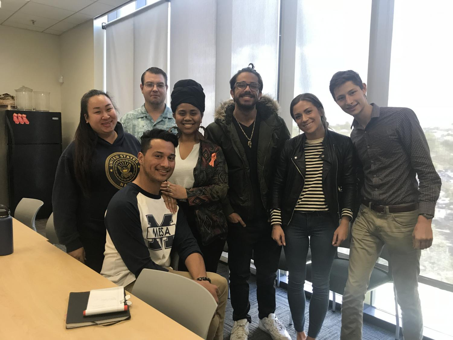 Seven out of the nine newly elected AS Senators: (left to right)May Nguyen, Timothy Ackerson, Rene Murillo, Jade Robinson, Baktash Olomi, Emilie Bengtsson, and Theo Douwes.