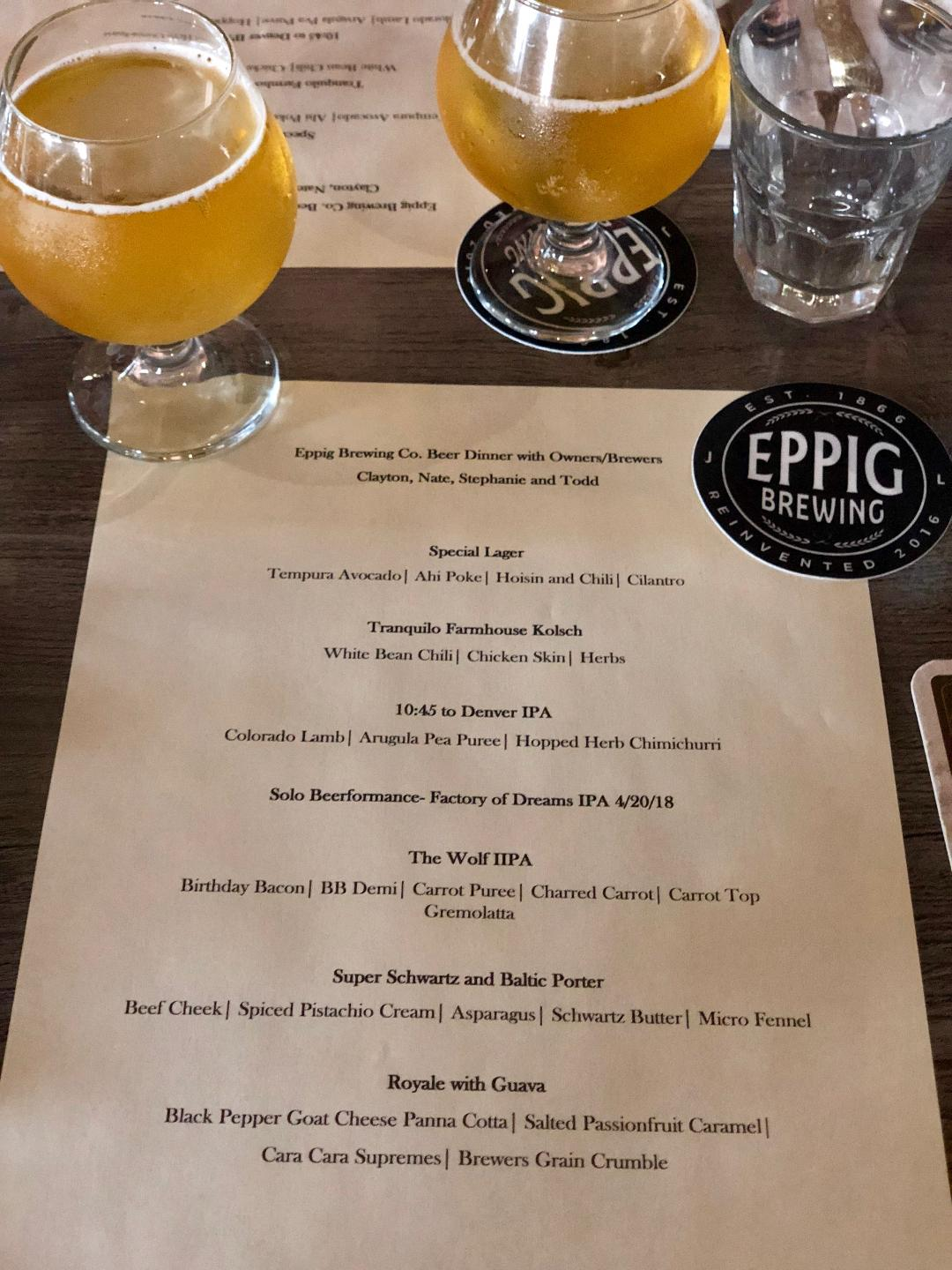 Eppig Brewing's first beer tasting of the night- the Special Lager