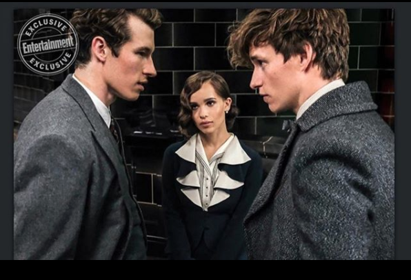 from left:Theseus Scamander, his fiancee Leta LeStrange, and his brother Newt Scamander  Photo Credits: @fantasticbeastsmovie