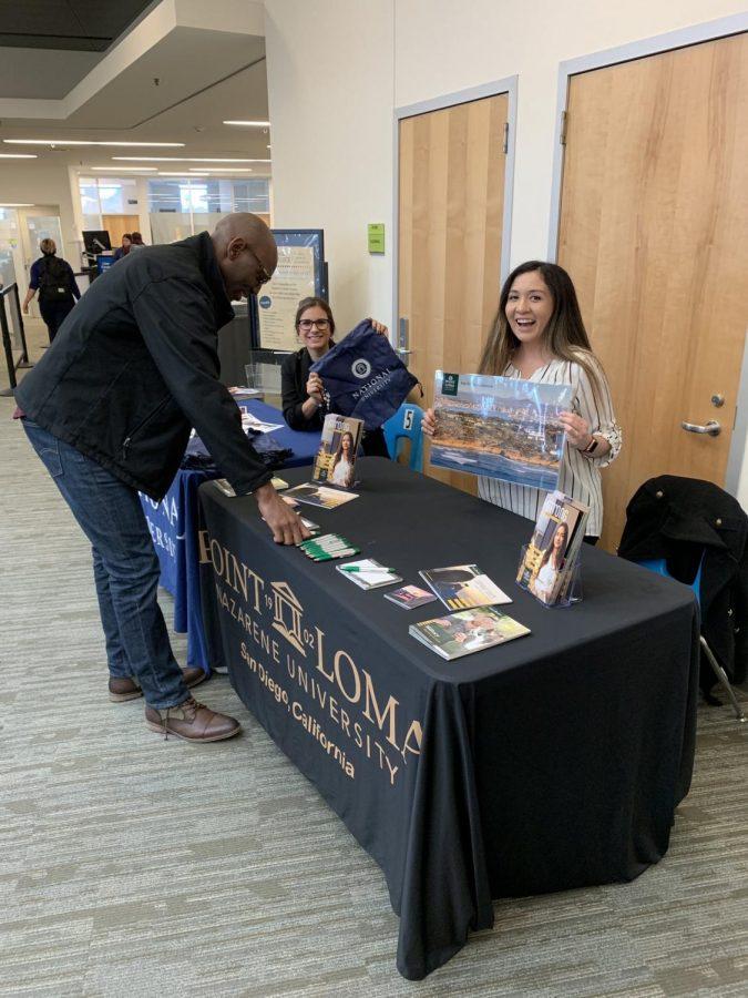 National University and Point Loma Nazarene University representatives giving information to Mesa students. Photo Credit: @sdmesatce