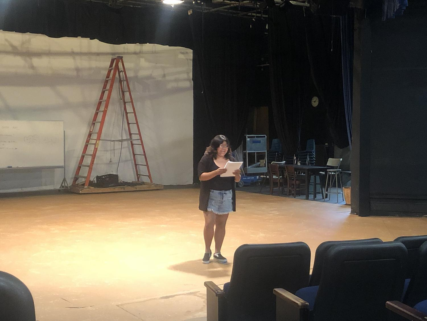 Lizeth De La Luz, 21-year-old English major, auditioning to take part of the upcoming Mesa College production of
