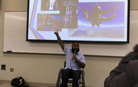 Wesley Hamilton proudly pointing up to his accomplishments Photo credit: Hana Woodward
