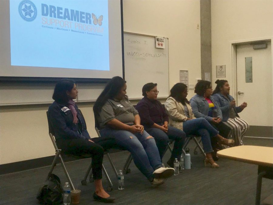 Panelists+at+the+%22I+did+it%2C+so+can+you%22+student+panel+address+the+audience+at+the+Empowering+Our+Undocumented+Communities+conference