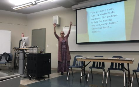 Professor Styles welcoming students to Mesa's event, Celebration:Deaf Social Activism. Photo Credit: Guadalupe Santillo Salinas