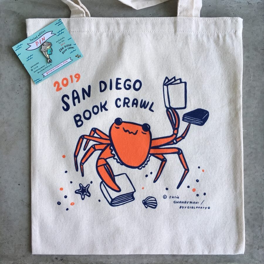 Readers+who+attended+the+San+Diego+Bookstore+Crawl+had+the+chance+to+earn+a+limited+edition+tote+bag+and+pin%2C+designed+by+artist+Susie+Ghahremani.