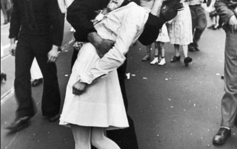 U.S. Navy Sailor kissing a stranger on V-J day in Times Square captured by Alfred Eisenstaedt in 1945.