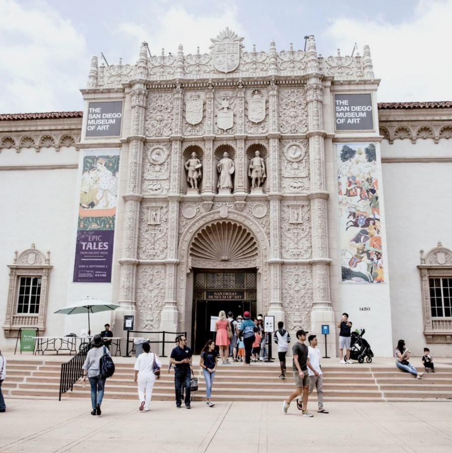 The San Diego Museum of Art's front entrance in Balboa Park, San Diego.