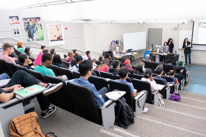 Professors Mary Gwin, Jaye van Kirk, and Gloria Kim presenting