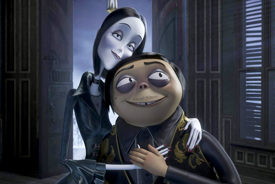 Charlize+Theron+and+Oscar+Isaac+voice+Morticia+%28left%29+and+Gomez+%28right%29+in+the+newest+adaptation+of+%22The+Addams+Family.%22