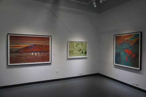 "A few works by John Brinton Hogan in his solo exhibit ""Brightest Beacons, Blindest Eyes."""
