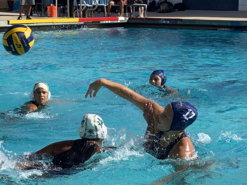 Women's water polo shooting to score
