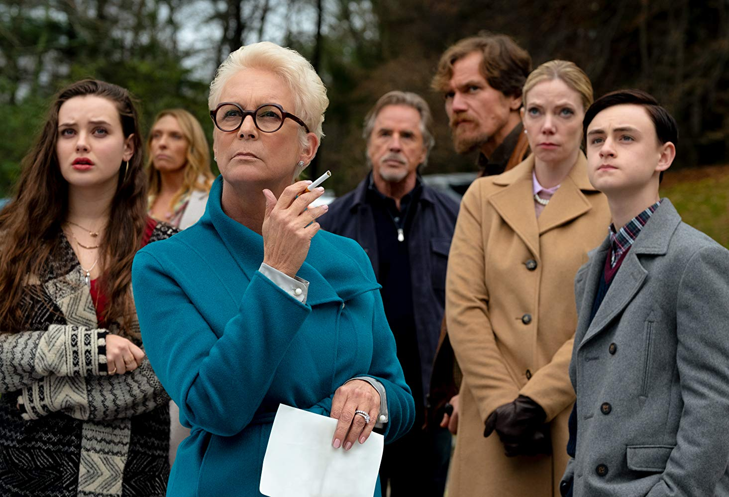 Jamie Lee Curtis, Toni Collette, Riki Lindhome, Don Johnson, Michael Shannon, Jaeden Martell, and Katherine Langford in Knives Out (Lionsgate/TNS)
