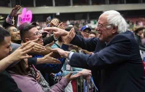 Bernie Sanders greets supporters.