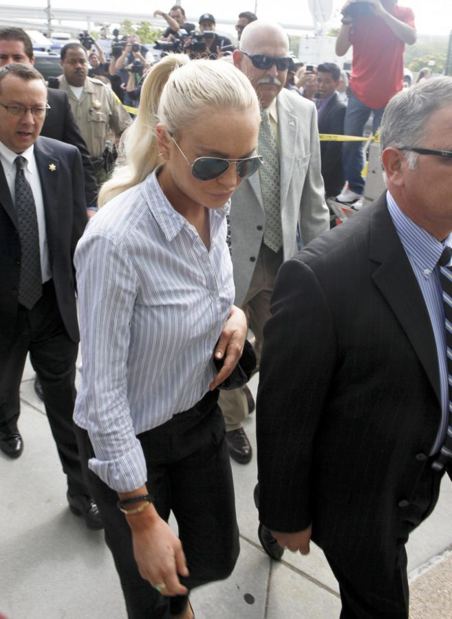Lindsay Lohan arriving to court during her highly publicized legal troubles in 2011.