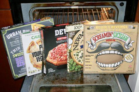Store-bought frozen pizza boxes
