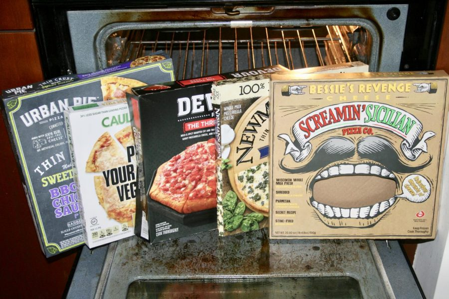 Store-bought frozen pizza boxes