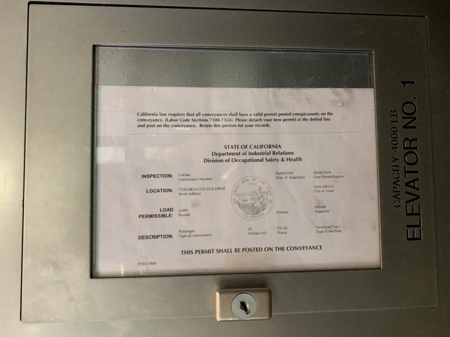 A permit in one of Mesa's elevators shows it was last inspected by the State of California Elevator Unit in June of 2018.