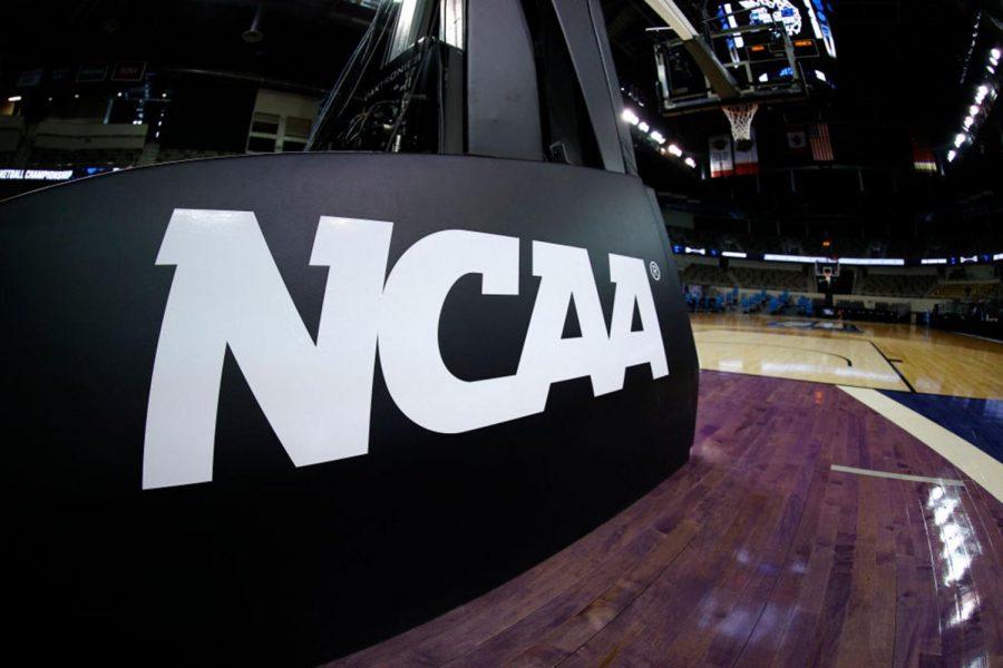 NCAA basket stanchion.
