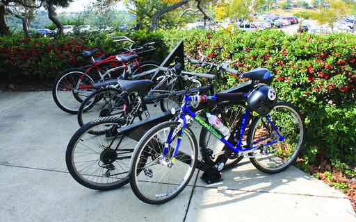 Construction displaces bike parking racks