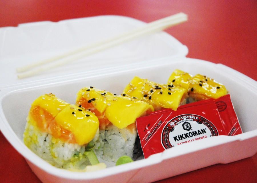 Hooked+On+Mesa+Sushi+Bar+and+Grill%27s+%22Mango+Tang%22+roll.