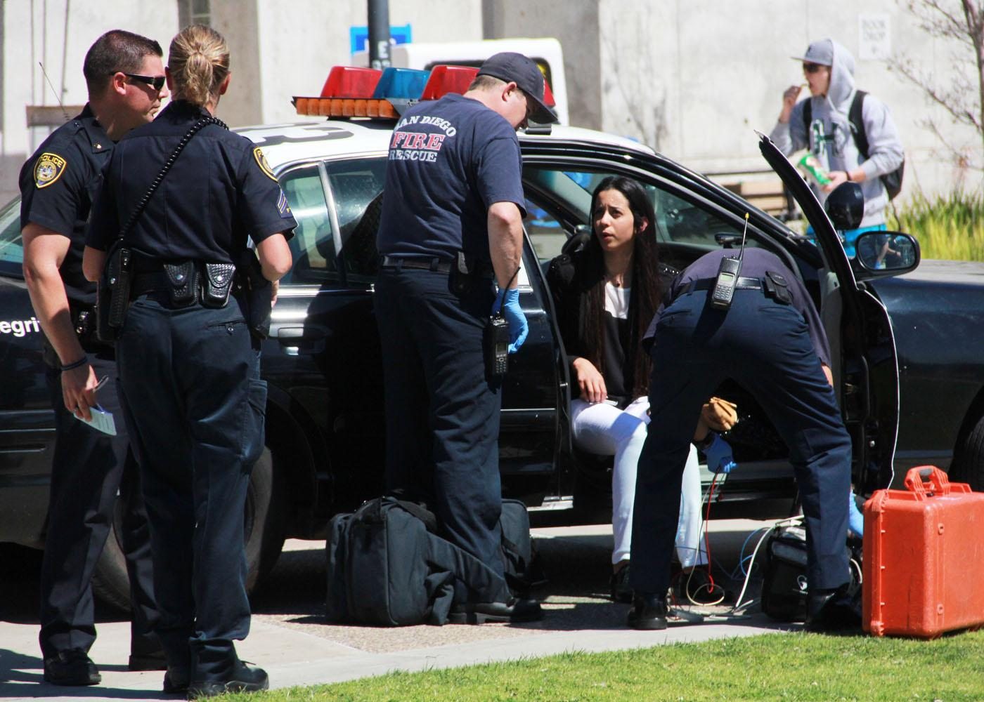 Police and EMT responded to an apparent domestic dispute call on campus in front of the LRC today around 1 p.m. It is reported that two Mesa students intervened. More details to come. Photo by M.A. Damron-Photo Editor