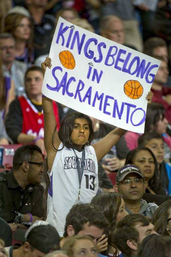 Shreya Kowtha, 12, of Sacramento, California, holds her sign in support of keeping the Kings in Sacramento during an NBA game against the Los Angeles Clippers at Sleep Train Arena on Wednesday, April 17, 2013. (Jose Luis Villegas/Sacramento Bee/MCT)