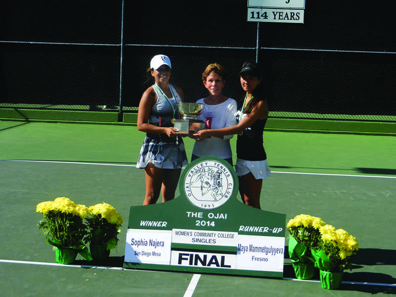Mesa%27s+Sophia+Najera+captured+the+women%27s+state+singles+tennis+title+in+Ojai%2C+Calif.++%28Photo+courtesy+of+CCCAA.org.%29