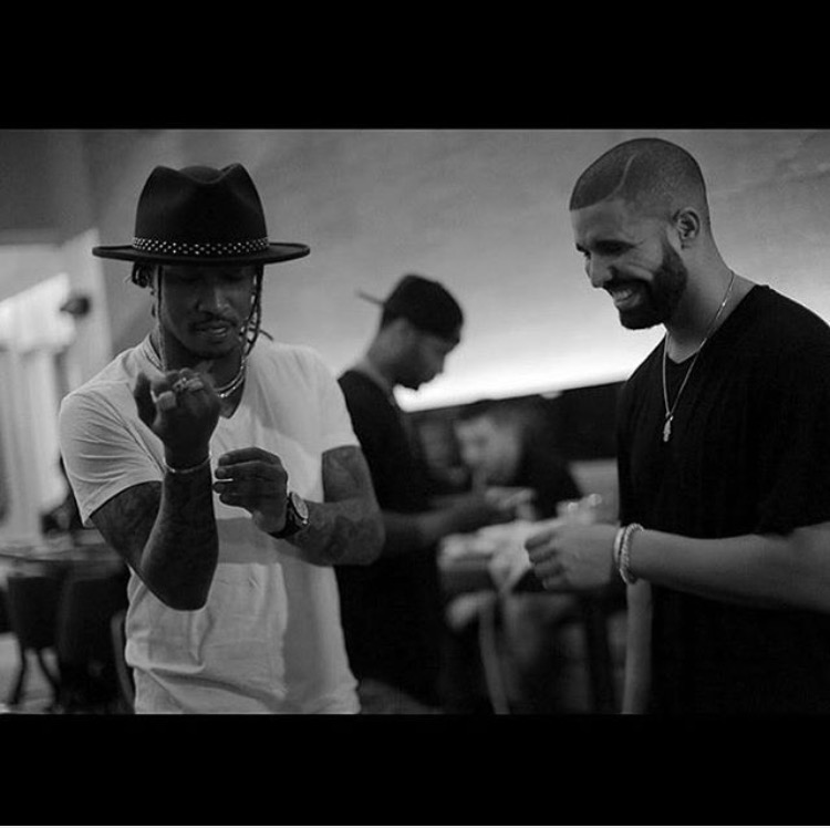 Rappers Future and Drake conversing. Posted on instagram account @champagnepapi on Sunday, September 20th the day of the mixtape release.