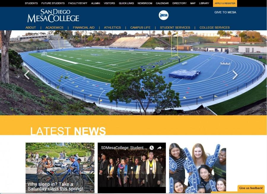 The home page of the new Mesa College website