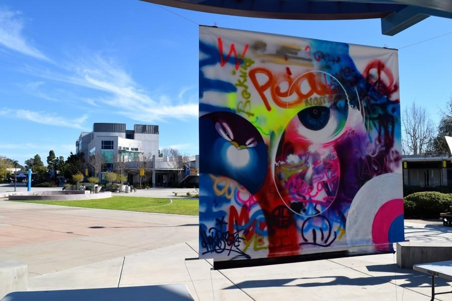 A collaborative piece between Chor Boogie and Mesa College students on display outside Mesa College's art gallery.