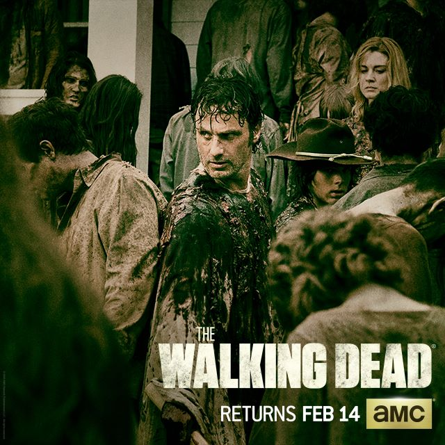 Rick Grimes dangerously walking through a herd of walkers. Will the group make it through? Photo Credit Instagram @amcthewalkingdead