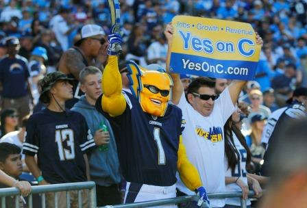 A fan promotes Prop. C along with Boltman during a San Diego Chargers game against the Tennessee Titans on Sunday, Nov. 6, 2016 at Qualcomm Stadium in San Diego.