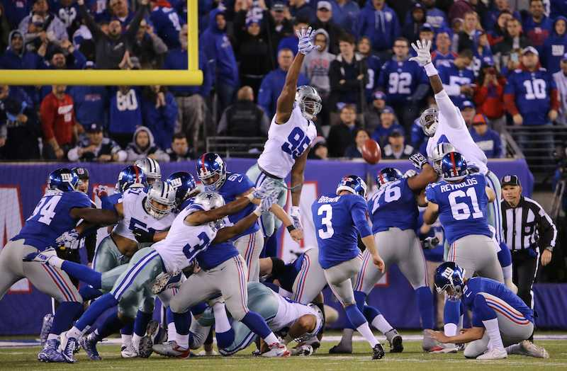 New York Giants kicker Josh Brown (3) kicks the extra point on the Giants' go-ahead touchdown during the fourth quarter on Sunday, Oct. 25, 2015, at MetLife Stadium in East Rutherford, N.J. (Paul Moseley/Fort Worth Star-Telegram/TNS)