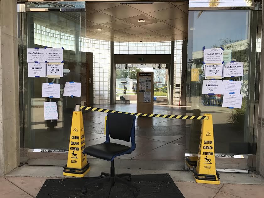 Mesa College's Learning Resource  Center closed due to smoke issue from elevator on Dec. 13. Photo Credit: Bijan Izadi